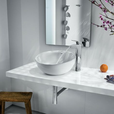 Roca Bol Round Countertop Basin 420mm W - 0 Tap Hole White
