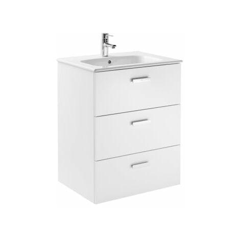 Roca - Conjunto mueble de 3 cajones y lavabo. Serie Victoria Basic Family, 60 cm, Color Blanco brillo. - A851230806