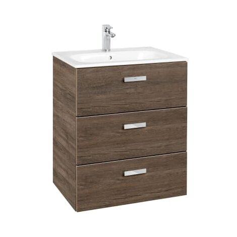 Roca - Conjunto mueble de 3 cajones y lavabo. Serie Victoria Basic Family, 60 cm, Color Cedro. - A851230423