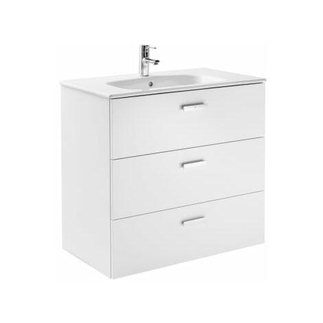 Roca - Conjunto mueble de 3 cajones y lavabo. Serie Victoria Basic Family, 80 cm, Color Blanco Brillo. - A851231806