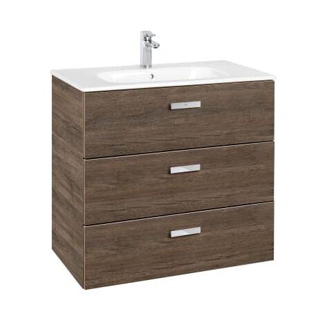 Roca - Conjunto mueble de 3 cajones y lavabo. Serie Victoria Basic Family, 80 cm, Color Cedro. - A851231423