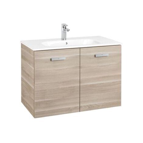 Roca - Conjunto mueble y puertas lavabo. Serie Victoria Basic, 80 cm, Color Abedul. - A855892422