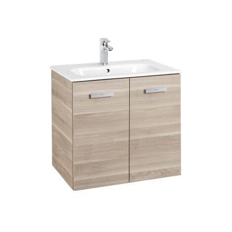 Roca - Conjunto mueble y puertas lavabo. Serie Victoria Basic, 80 cm, Color abedul. - A855894422