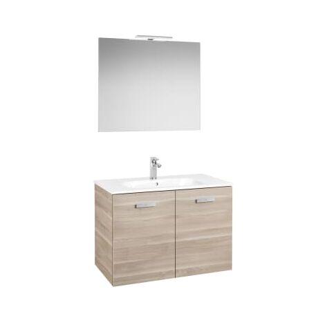 Roca - Conjunto mueble y puertas lavabo. Serie Victoria Basic, 80 cm, Color abedul. - A855897422