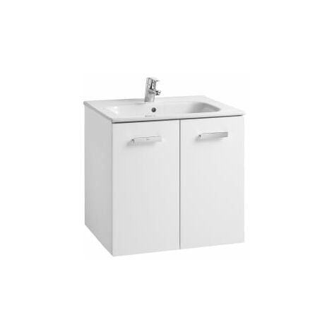Roca - Conjunto mueble y puertas lavabo. Serie Victoria Basic, 80 cm, Color Blanco brillo. - A855894806