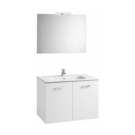 Roca - Conjunto mueble y puertas lavabo. Serie Victoria Basic, 80 cm, Color blanco brillo. - A855897806