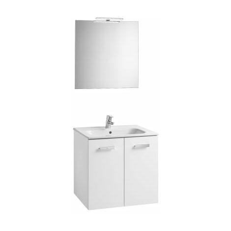 Roca - Conjunto mueble y puertas lavabo. Serie Victoria Basic, 80 cm, Color blanco brillo. - A855899806