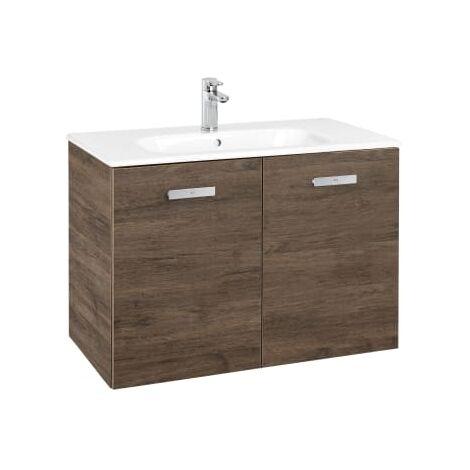 Roca - Conjunto mueble y puertas lavabo. Serie Victoria Basic, 80 cm, Color Cedro. - A855892423