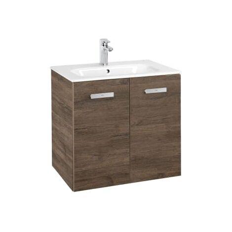 Roca - Conjunto mueble y puertas lavabo. Serie Victoria Basic, 80 cm, Color cedro. - A855894423