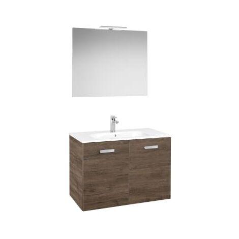 Roca - Conjunto mueble y puertas lavabo. Serie Victoria Basic, 80 cm, Color cedro. - A855897423