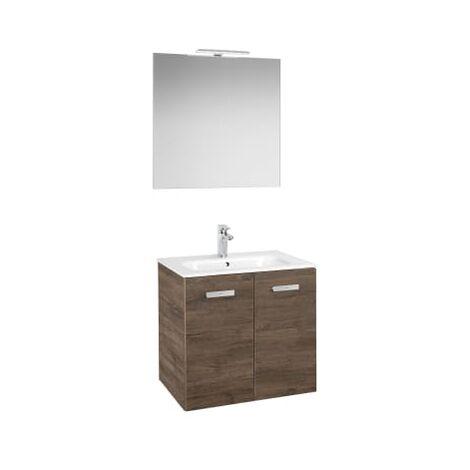 Roca - Conjunto mueble y puertas lavabo. Serie Victoria Basic, 80 cm, Color cedro. - A855899423