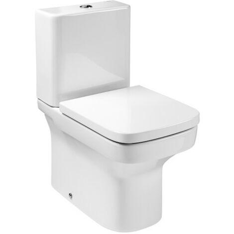 ROCA DAMA - Inodoro completo compacto adosado a pared con salida dual (incluye taza, cisterna de alimentación lateral y tapa amortiguada)