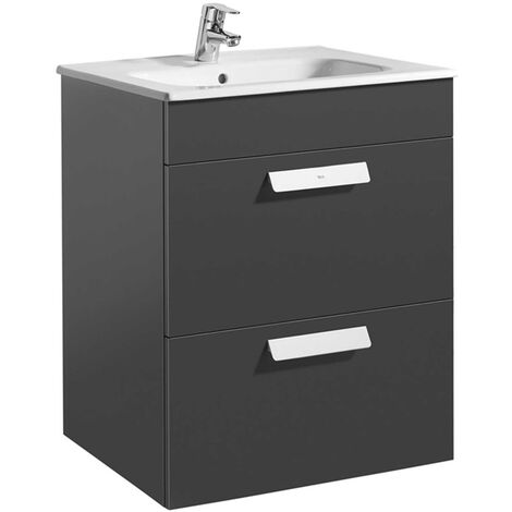 Roca Debba Wall Hung 2-Drawer Vanity Unit with Square Basin 600mm Wide - Gloss Anthracite Grey