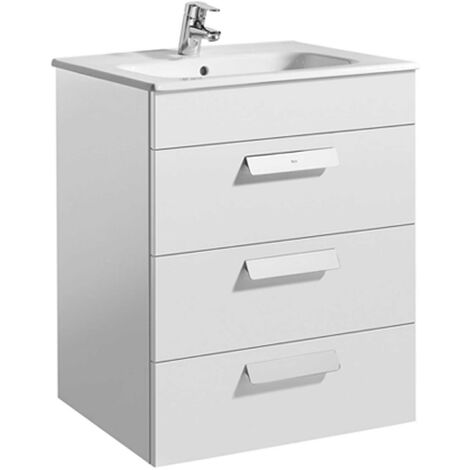 Roca Debba Wall Hung 3-Drawer Vanity Unit with Square Basin 600mm Wide - Gloss White