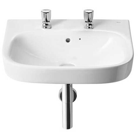 Roca Debba Wall Hung Basin 550mm Wide - 2 Tap Hole