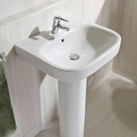Roca Debba Wall Hung Basin with Full Pedestal 450mm W - 1 Tap Hole