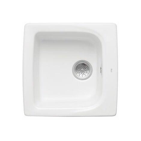 ROCA Fregadero de 1 cubeta de gres 50 con 2 agujeros insinuados - Serie Beverly , Color Blanco