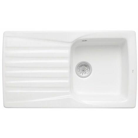 ROCA Fregadero reversible de 1 cubeta y 1 escurridor de gres - Serie Beverly 85 E, con 2 orificios insinuados, Color Blanco