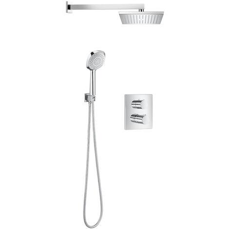 ROCA Grifo termostático mezclador para ducha (Incluye mezclador empotrable, rociador, brazo, soporte, flexo y ducha de mano) T-2000