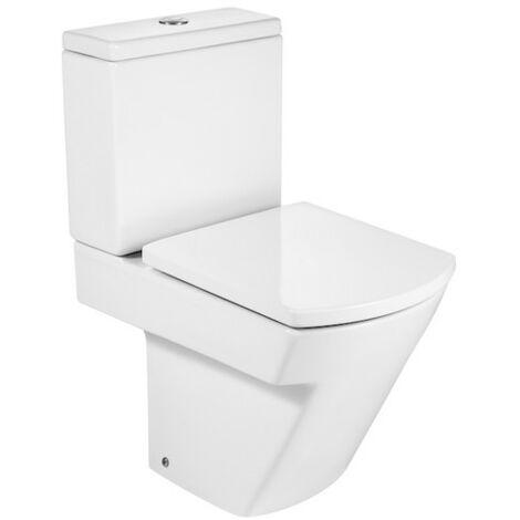 ROCA HALL-Inodoro completo compacto con salida dual (incluye taza, cisterna de alimentación inferior y tapa)