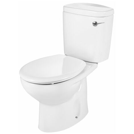 Roca Laura Close Coupled Toilet, Lever Cistern, Soft Close Seat - White