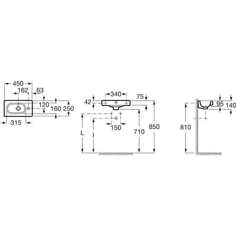 Lavabo Meridian Compacto.Lavabo Mural Compacto Meridian 45x25cm Bl