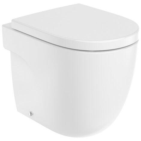 ROCA MERIDIAN - Inodoro compacto adosado a pared con salida dual (incluye taza Rimless y tapa amortiguada de Supralit®) Blanco