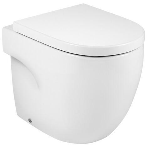 ROCA MERIDIAN - Inodoro compacto adosado a pared con salida dual (incluye taza y tapa amortiguada de Supralit®) Blanco