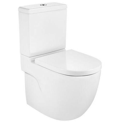 ROCA MERIDIAN - Inodoro completo compacto adosado a pared con salida dual (incluye taza Rimless, cisterna de alimentación inferior y tapa amortiguada de Supralit®)