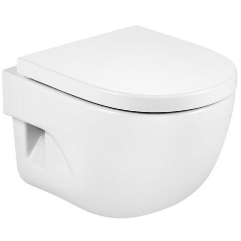 ROCA MERIDIAN - Inodoro suspendido compacto con salida horizontal (incluye taza y tapa amortiguada de Supralit®) Blanco