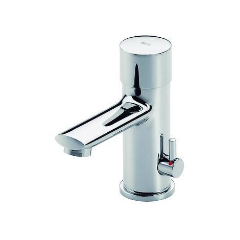 ROCA Mezclador temporizado de lavabo de repisa pulsador maneta lateral para regulación de temperatura - Serie Sprint