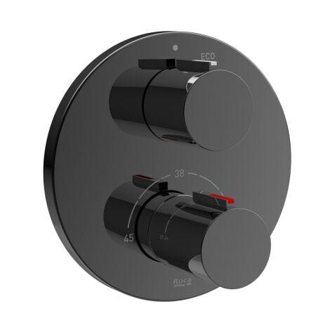 Roca-Mezclador termostático empotrable Naia para baño o ducha en acabado negro titanio