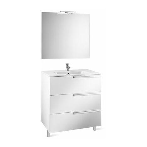 ROCA Mueble de baño (mueble, lavabo espejo y aplique Led) - 80 cm, Serie Victoria-N , Blanco brillo