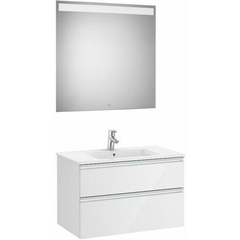 ROCA Mueble de baño (mueble, lavabo y espejo Led) 80,5 cm - Color Blanco Brillo
