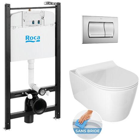 Roca Pack Bâti-support ROCA ACTIVE + WC sans bride Idevit Alfa + abattant ultra fin + plaque chrome mat (RocaActiveAlfa-2)
