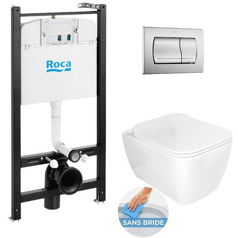 Roca Pack Bâti-support ROCA ACTIVE + WC sans bride Idevit Havana + abattant ultra fin + plaque chrome mat (RocaActiveHavana-2)