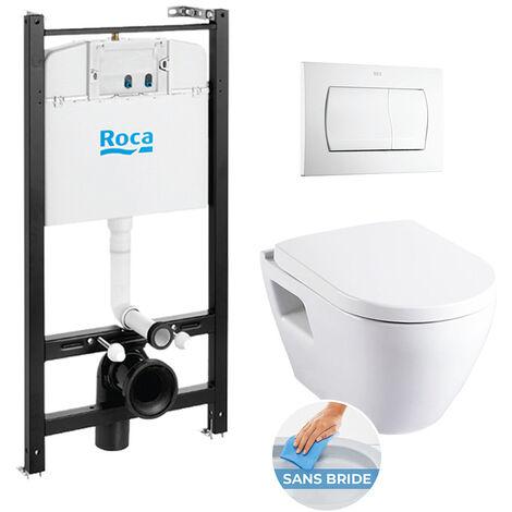 Roca Pack Bâti-support ROCA ACTIVE + WC SM26 sans bride + abattant softclose + plaque de commande blanche (RocaActiveSM26-1)