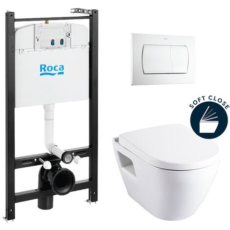 Roca Pack Bâti-support ROCA ACTIVE + WC suspendu SM10 + abattant softclose + plaque de commande blanche (RocaActiveSM10-1)