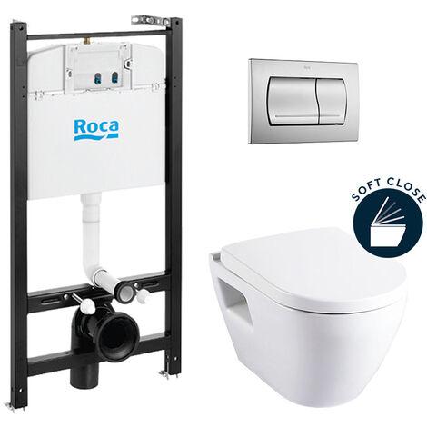 Roca Pack Bâti-support ROCA ACTIVE + WC suspendu SM10 + abattant softclose + plaque de commande chrome mat (RocaActiveSM10-2)