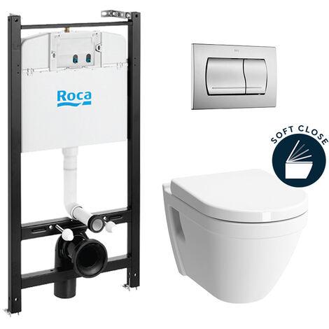 Roca Pack Bâti-support Roca Active + WC suspendu Vitra + Abattant soft close + plaque chrome (RocaActiveS50softclose-2)