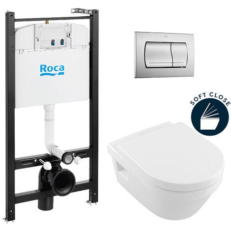 Roca Pack Bâti-support ROCA ACTIVE + WC Villeroy & Boch Architectura + plaque de commande chrome mat (RocaActiveArchitectura-2)