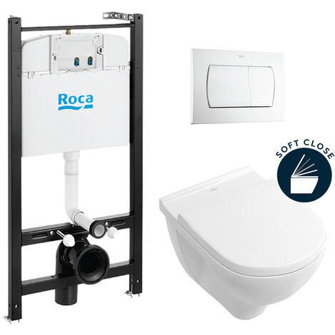 Roca Pack Bâti-support ROCA ACTIVE + WC Villeroy & Boch O.Novo + abattant softclose + plaque blanche (RocaActiveO.Novo-1)