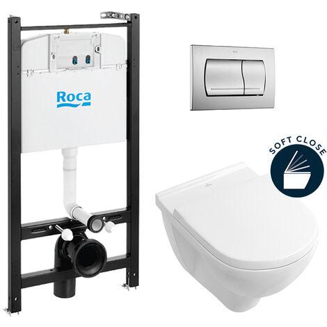 Roca Pack Bâti-support ROCA ACTIVE + WC Villeroy & Boch O.Novo + abattant softclose + plaque chrome mat (RocaActiveO.Novo-2)