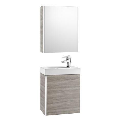 ROCA Pack con armario espejo (mueble base lavabo y armario espejo) - Serie Mini , Color Arena texturizado
