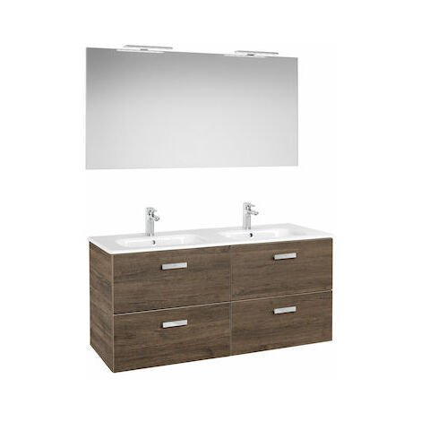 Roca - Pack (Conjunto de lavabo doble con 2 cajones, espejo y 2 apliques LED), Serie Victoria Basic, 120 cm, Color Cedro. - A855855423
