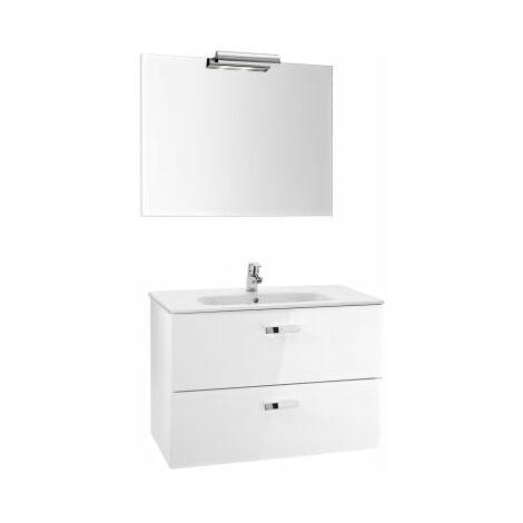 Roca - Pack (Incluye Unik Victoria Basic de 2 cajones, espejo y aplique LED), Serie Victoria Basic, 100 cm, Color Blanco Brillo. - A855856806