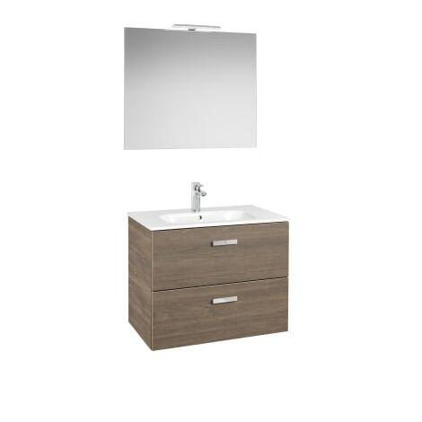Roca - Pack (Incluye Unik Victoria Basic de 2 cajones, espejo y aplique LED), Serie Victoria Basic, 60 cm, Color Cedro. - A855859423