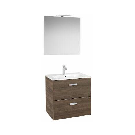 Roca - Pack (Incluye Unik Victoria Basic de 2 cajones, espejo y aplique LED), Serie Victoria Basic, 70 cm, Color Cedro. - A855858423