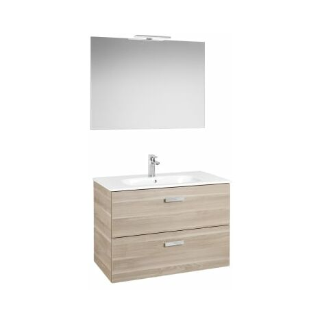 Roca - Pack (Incluye Unik Victoria Basic de 2 cajones, espejo y aplique LED), Serie Victoria Basic, 80 cm, Color Abedul. - A855857422