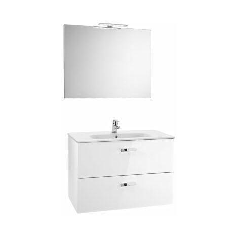 Roca - Pack (Incluye Unik Victoria Basic de 2 cajones, espejo y aplique LED), Serie Victoria Basic, 80 cm, Color Blanco Brillo. - A855857806
